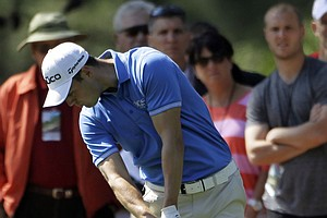 Martin Kaymer, of Germany, hits off the first fairway during the third round of the Masters.