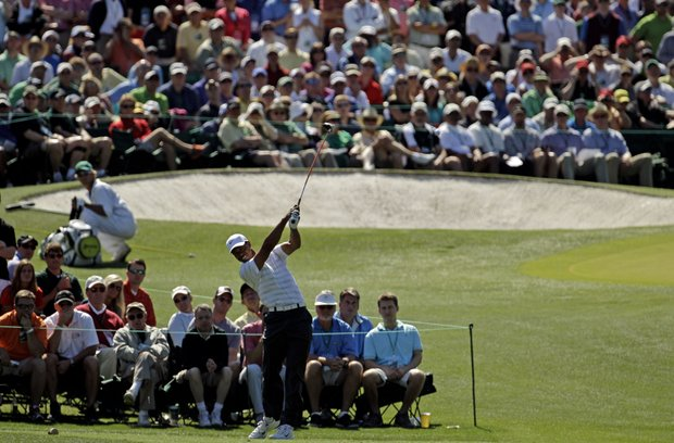 Tiger Woods tees off on the third hole during the third round of the Masters.