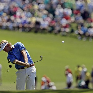 Brandt Snedeker hits off the first fairway during the fourth round of the Masters,