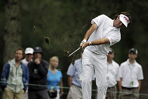 Bubba Watson hits on the 17th fairway during the first round of the Masters.