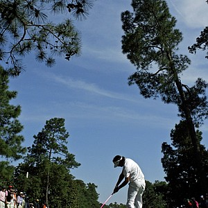 Bubba Watson tees off on the ninth hole during the fourth round of the Masters.