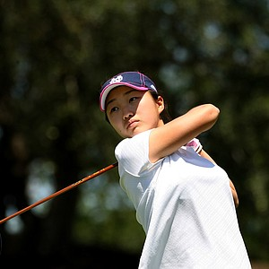 Kelli Oride of Notre Dame watches her tee shot at No. 10 during the Big East Women's Championship at Reunion Resort.