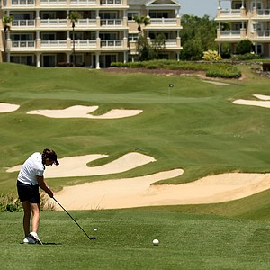 Ashley Armstrong of Notre Dame hits her tee shot at No. 11 during the Big East Women's Championship at Reunion Resort.