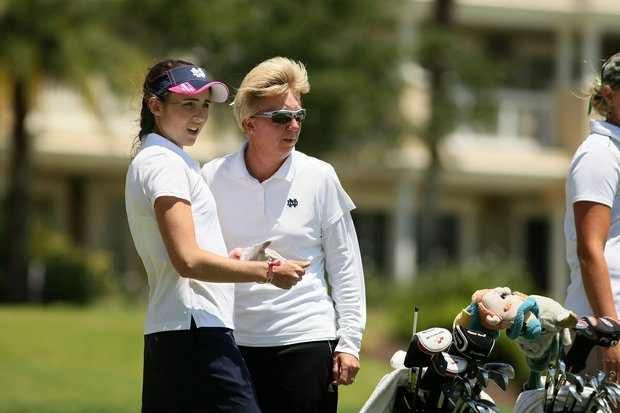 Ashley Armstrong of Notre Dame with head coach, Susan Holt during the Big East Women's Championship at Reunion Resort.