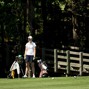 Brittany Weddell of Rutgers hits her tee shot at No. 18 during the Big East Women's Championship at Reunion Resort.
