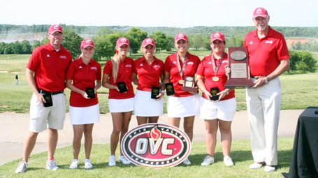 Jacksonville State displays its Ohio Valley Conference hardware.
