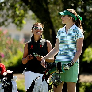 Notre Dame's Becca Huffer, right, with Louisville's Maria Castellanos, during the Big East Women's Championship at Reunion Resort.