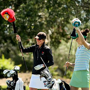 Louisville's Emily Haas, left, and Notre Dame's Ashley Armstrong, played in the same group during the final round of the Big East Women's Championship at Reunion Resort. They both tied for 1st, with Armstrong winning a playoff.