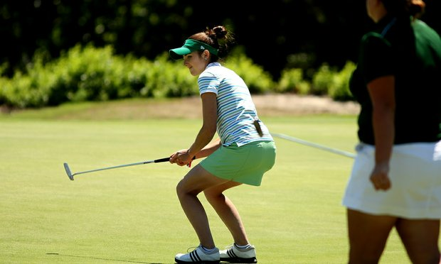 Notre Dame's Ashley Armstrong reacts to a putt during the final round of the Big East Women's Championship at Reunion Resort. Armstrong beat Louisville's Emily Haas in a playoff for individual honors.