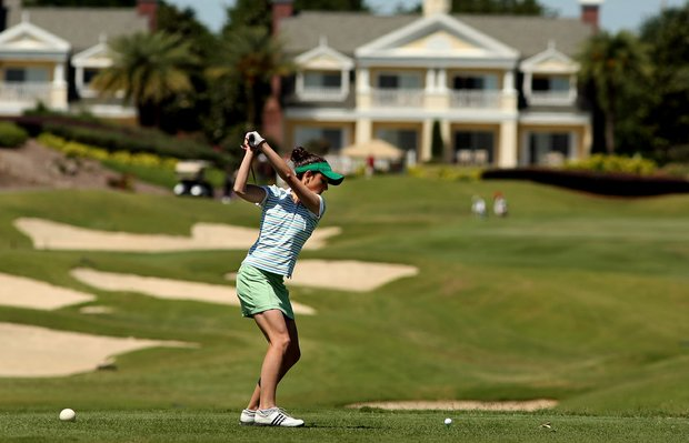Notre Dame's Ashley Armstrong tees off at No. 9 during the final round of the Big East Women's Championship at Reunion Resort. Armstrong won the individual honors.