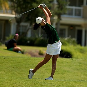 University of South Florida's Shena Yang hits her tee shot at No. 12 during the final round of the Big East Women's Championship at Reunion Resort.