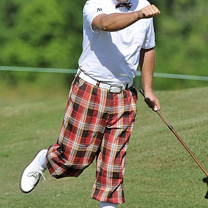 Graeme McDowell of Northern Ireland reacts to his putt on the second hole during the Fore!Kids Foundation 3-hole charity shoot out for the Zurich Classic of New Orleans at TPC Louisiana.