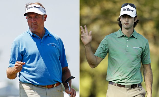 Ken Duke (left) and Cameron Tringale share the first-round lead at the Zurich Classic.