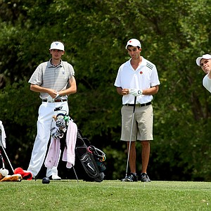 Max Scodro of Notre Dame hits his tee shot at No. 9 as Louisville's Chris Buiso and Villanova's Derek Jones watch during the Big East Men's Championship at Reunion Resort.