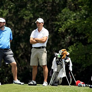 Notre Dame's Max Scodro with head coach Jim Kubinski during the Big East Men's Championship at Reunion Resort.
