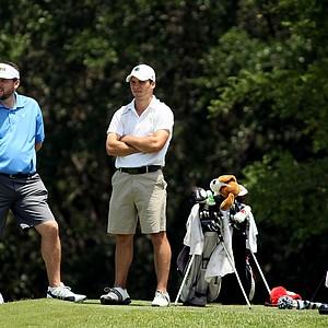 Notre Dame's Max Scodro with head coach Jim Kubinski during the Big East Men's Championship at Reunion Resort.