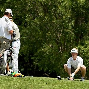 Notre Dame's Paul McNamara lines up his shot at No. 9 during the Big East Men's Championship at Reunion Resort.