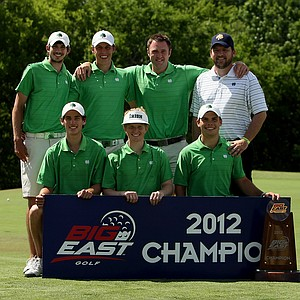 Notre Dame poses with the trophy after winning the Big East Men's Championship at Reunion Resort by 16 shots over Louisville. A total of 12 teams played in the championship.