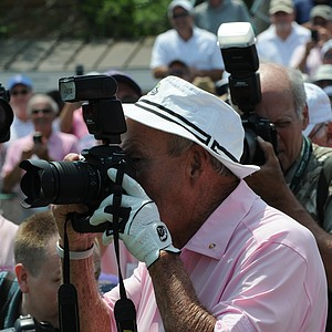 Arnold Palmer working on a new career at the Houston Greats of Golf Challenge.