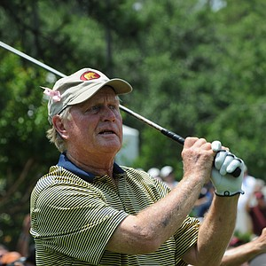 Jack Nicklaus and his classic follow through at the Houston Greats of Golf Challenge..