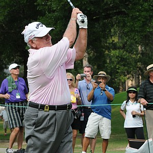 David Graham with a high follow through at the Houston Greats of Golf Challenge.