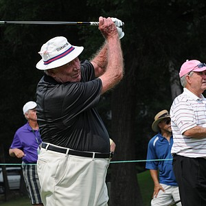 Don January hitting a tee shot at the par-3 16th hole at the Houston Greats of Golf Challenge.