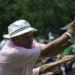 Arnold Palmer showing off his follow through at the Houston Greats of Golf Challenge.
