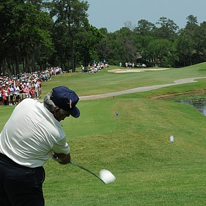 Lee Trevino with his famous swing on the first hole at the Houston Greats of Golf Challenge..