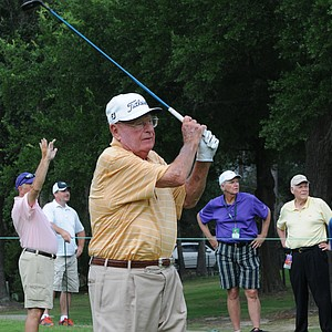 Miller Barber near the end of the round on Saturday at the Houston Greats of Golf Challenge.
