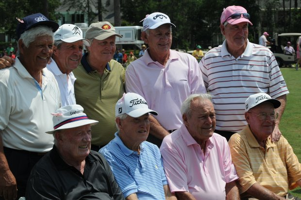 The Houston Greats of Golf Challenge participants: (back row, from left) Lee Trevino, Gary Player, Jack Nicklaus, David Graham and Dave Stockton. (bottom row, from left) Don January, Gene Littler, Arnold Palmer and Miller Barber.