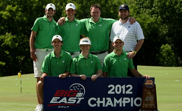 The Notre Dame men's team after winning the Big East Championship.