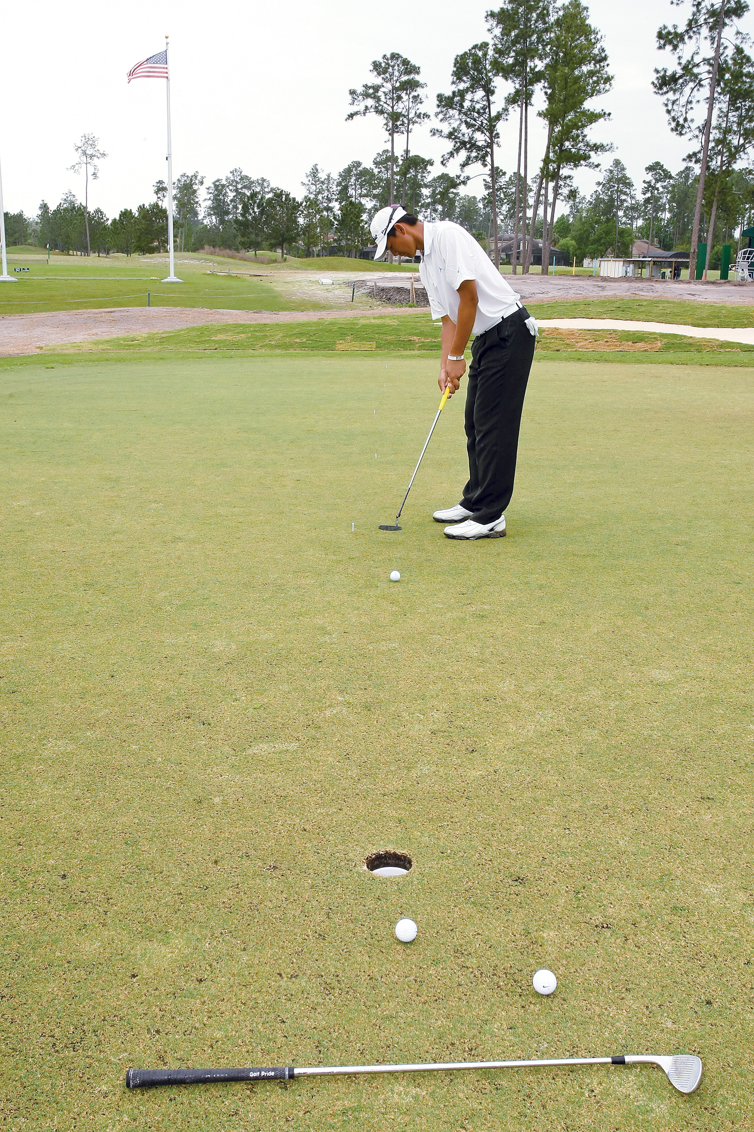 Hak wants his putts to roll past the hole but not to the club.
