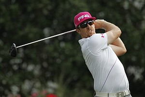 Hunter Mahan hits from the 11th tee during the first round of the Players Championship golf tournament, Thursday, May 10, 2012, at Sawgrass in Ponte Vedra, Fla.