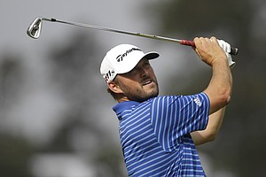 Blake Adams hits from the 10th tee during the first round of the Players Championship golf tournament, Thursday, May 10, 2012, at Sawgrass in Ponte Vedra, Fla.