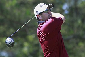 Ben Curtis hits from the ninth tee during the second round of the Players Championship.