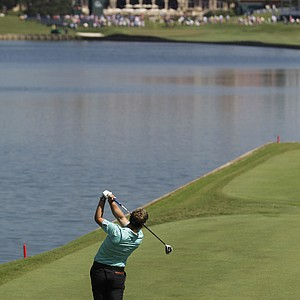 Luke Donald of England hits from the 18th tee during the second round of the Players Championship.