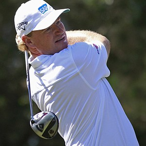 Ernie Els of South Africa hits from the ninth tee during the second round of the Players Championship.