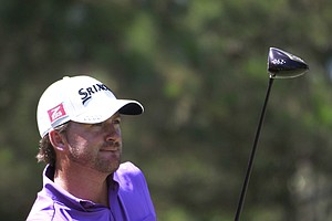 Graeme McDowell of Northern Ireland hits from the ninth tee during the second round of the Players Championship.