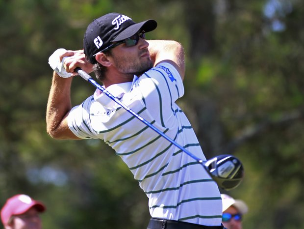 Kyle Stanley hits from ninth tee during the second round of the Players Championship.