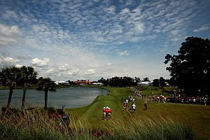 Hole No. 18 from behind the tee box on Saturday at The Players Championship at TPC Sawgrass.