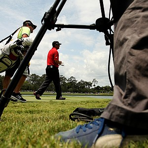 Pat Perez walks toward the fairway at No. 18 on Saturday at The Players Championship at TPC Sawgrass. Perez is T35 after Saturday's round.
