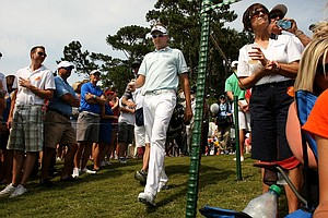 Ian Poulter walks to the 18th tee on Saturday at The Players Championship at TPC Sawgrass.