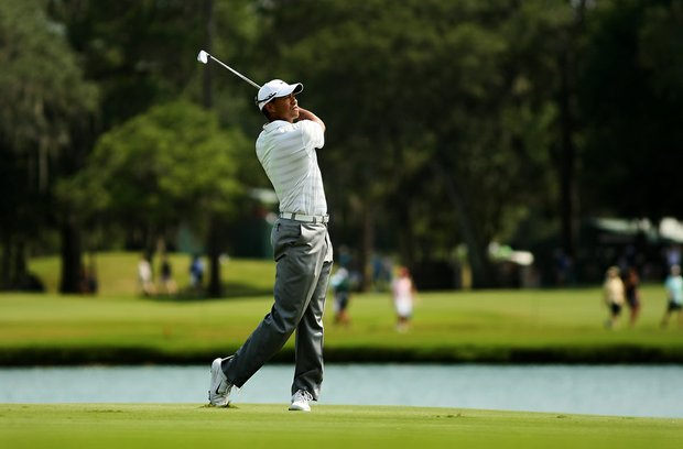 Tiger Woods at No. 18 on Saturday at The Players Championship at TPC Sawgrass.