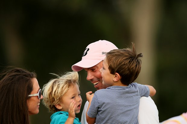 Matt Kuchar is surrounded by his wife, Sybi, and sons, Carson, 2 and Cameron, 4 after winning The Players Championship at TPC Sawgrass.
