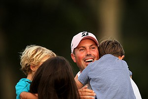 Matt Kuchar with his family at No. 18 after he won The Players Championship at TPC Sawgrass.