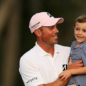 Matt Kuchar with his son Cameron, 4, after winning The Players Championship at TPC Sawgrass.