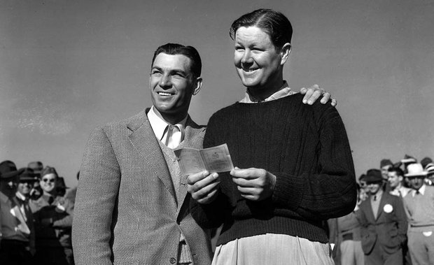 Ben Hogan, left, and Byron Nelson at the 1942 Masters.