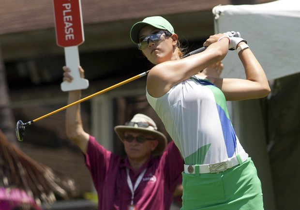 Michelle Wie in action during the second round of the LPGA LOTTE Championship.