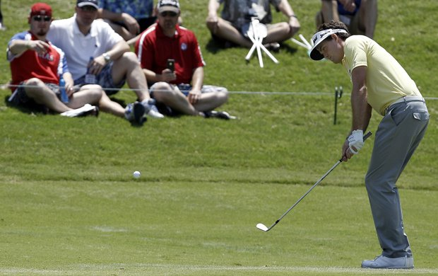 Keegan Bradley chips to the second green during the first round of the PGA Byron Nelson Golf Championship.