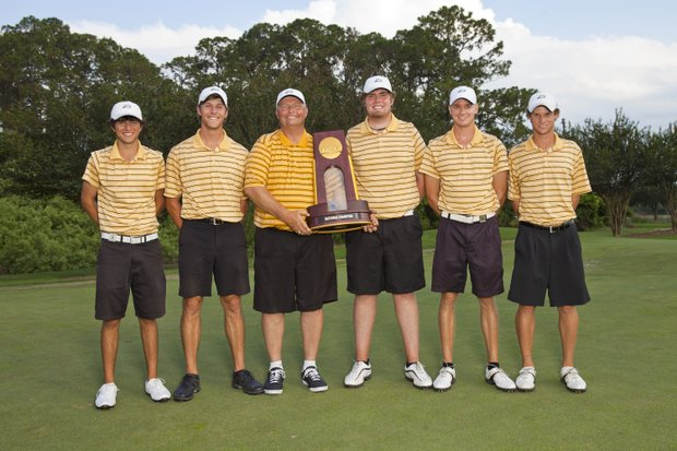 Led by freshman Anthony Maccaglia (far left), Oglethorpe cruised to a 20-stroke victory at the NCAA Div. III Championship at Mission Inn in Howey in the Hills, Fla. From left, Maccaglia, Anthony Amodeo, coach Jim Owen, Eric Quinn, Matt Rebitch and Hayden Jones.